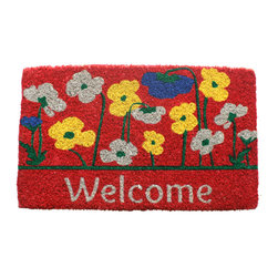 Entryways - Poppies Welcome Hand Woven Coconut Fiber Doormat - Single Doormat, hand-woven, hand-painted, hand-stenciled, fade resistant, natural coir (coconut fiber), durable, best location is covered area, shake or sweep clean.