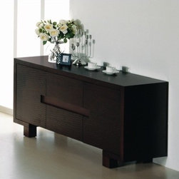 Hokku Designs - BH Design Etch Buffet Sideboard, Wenge - Features: -Has two side doors and two central drawers with horizontally etched faces.-Full extension ball-bearing tracks for drawers.-Thick block legs for levitated look.-Represents a unique combination of design and workmanship.-Handles are grooved inside the drawer face for an uninterrupted motif.-Solid wood and veneer construction on medium density fiberboard.-Wenge finish.-Etch collection.-Collection: Etch.-Distressed: No.Dimensions: -Overall Product Weight: 209 lbs.Warranty: -Manufacturer provides one year warranty.
