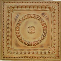 """Colonial Tin Wall Plaque - 24""""x24"""" - This medium size plaque adds visual strength and drama to your walls decor. Sold individually, they are lovely hanging alone they but also work well for large spaces when grouped in differing patterns or finishes. Inspired by the artistic look of old-fashioned tin ceiling tiles, these pressed tin plaques are sure to be a focal point wherever they're displayed. Each plaque is crafted of real tin, and finished in your choice form a variety of available finishes. Use alone or in a gang of 4 for larger spaces."""