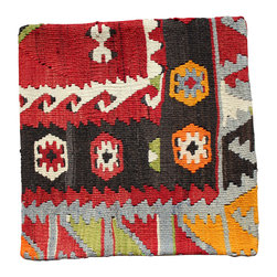 Original Turkish Hand Woven Kilim - Bold Antique Hand Woven Kilim Pillow Cover - Hand Woven from an Antique Turkish Kilim Carpet, this pillow cover has a Wool front and cotton back with Zipper entry.  Please note:  pillow insert not included.