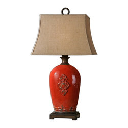Uttermost - Uttermost 26348  Mataline Crackled Red Lamp - Crackled red ceramic with rust brown details. the rectangle bell shade is a rust linen fabric with natural slubbing.