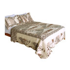 Blancho Bedding - Delicate Leopard 100% Cotton 3PC Patchwork Quilt Set  Full/Queen Size - The [Delicate Leopard] Quilt Set (Full/Queen Size) includes a quilt and two quilted shams. Shell and fill are 100% cotton. For convenience, all bedding components are machine washable on cold in the gentle cycle and can be dried on low heat and will last you years. Intricate vermicelli quilting provides a rich surface texture. This vermicelli-quilted quilt set will refresh your bedroom decor instantly, create a cozy and inviting atmosphere and is sure to transform the look of your bedroom or guest room. Dimensions: Full/Queen quilt: 90 inches x 98 inches; Standard sham: 20 inches x 26 inches.