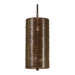 Kathy Kuo Home - Farley Hollywood Regency Antique Bronze Coiled 1 Light Pendant Fixture - Modern meets antique and they live happily ever after in this single bronze pendant fixture. An eye-catching, coiled, bronze-finished drum shade descends from a petite, dark bronze square canopy. Each slim pendant holds two lights, providing the perfect amount of radiance over a favorite chair, desk or end table.  We also love them grouped in pairs or trios over larger areas.