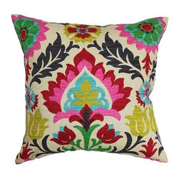 The Pillow Collection - Tahsis Multicolor 18 x 18 Floral Throw Pillow - - Pillows have hidden zippers for easy removal and cleaning  - Reversible pillow with same fabric on both sides  - Comes standard with a 5/95 feather blend pillow insert  - All four sides have a clean knife-edge finish  - Pillow insert is 19 x 19 to ensure a tight and generous fit  - Cover and insert made in the USA  - Spot clean and Dry cleaning recommended  - Fill Material: 5/95 down feather blend The Pillow Collection - P18-D-42252-MULTI-C100