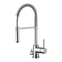 WS Bath Collections - Evo Two Spray Hand Shower Kitchen Faucet - Evo by WS Bath Collections One-hole Kitchen Sink Faucet with Two-Spray Hand-shower that includes Dish-washer connection, Available in Polished Chrome, Mat Chrome, or Stainless Steel, Made in Italy