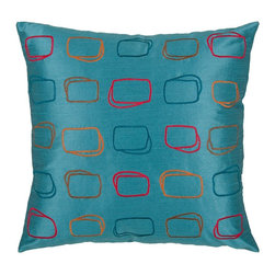 "Peacock Blue Multi Modern 18"" x 18"" Pillow  Set of 2 - *18"" x 18"" Pillow with Hidden Zipper"