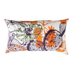 """Koko Company - Cactus Pillow, Orange, Blue, and Green, 15"""" x 27"""" - Inspired by Southwestern flora with embroidery and screen printed graphic."""