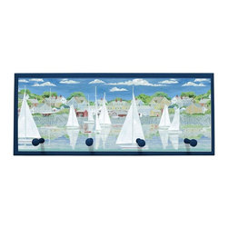 illumalite Designs - Racing Sailboats Plaque Coat Rack with Pegs - Lighthouses and sailboats are featured on this nautical plaque. This 10.25 in. by 25 in. plaque is the perfect way to add a nautical touch to any room. Features 4 painted wooden pegs to hold anything from coats to keys. The handpainted navy blue border highlights the colorful design
