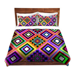 DiaNoche Designs - Duvet Cover Microfiber by Organic Saturation - Fiesta Native Inspired - DiaNoche Designs works with artists from around the world to bring unique, artistic products to decorate all aspects of your home.  Super lightweight and extremely soft Premium Microfiber Duvet Cover (only) in sizes Twin, Queen, King.  Shams NOT included.  This duvet is designed to wash upon arrival for maximum softness.   Each duvet starts by looming the fabric and cutting to the size ordered.  The Image is printed and your Duvet Cover is meticulously sewn together with ties in each corner and a hidden zip closure.  All in the USA!!  Poly microfiber top and underside.  Dye Sublimation printing permanently adheres the ink to the material for long life and durability.  Machine Washable cold with light detergent and dry on low.  Product may vary slightly from image.  Shams not included.