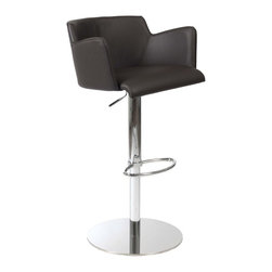 """Eurostyle - Eurostyle Sunny Swivel Bar/ Counter Chair in Brown Leatherette & Chrome - Swivel Bar/ Counter Chair in Brown Leatherette & Chrome belongs to Sunny Collection by Eurostyle Create a place to gather with the Sunny Adjustable Bar Stool. Plush seats and a durable base make this a great choice for everyday seating. The Sunny Adjustable Bar Stool uses a gas lift mechanism to instantly transform it into a counter stool, a multipurpose swiveling stool that can be used at both the bar and the counter! This modern barstool features a leatherette upholstered foam seat, back and arms, with a chromed steel frame and base complementing the style and adding stability. Seat Height: 21.5""""-30.5"""". Bar/ Counter Chair (1)"""