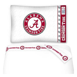 Sports Coverage - NCAA Alabama Crimson Tide Football Twin Bed Sheet Set - Features: