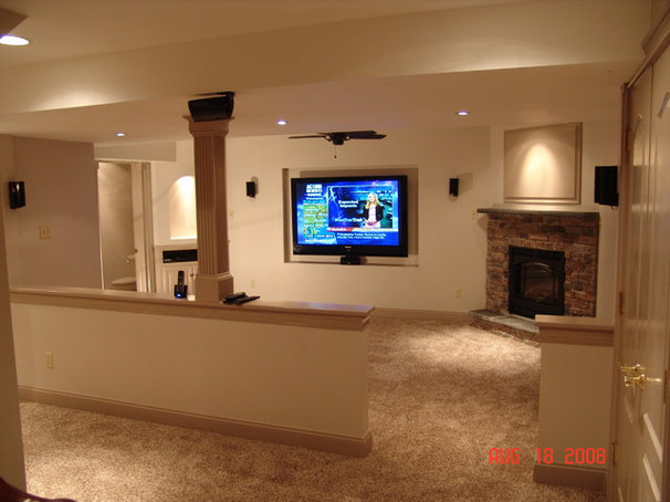 traditional basement by building and remodeling