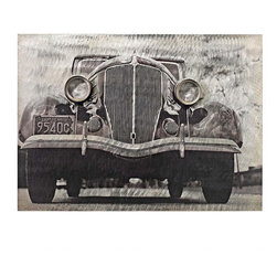 EttansPalace - Collectible Vintage Car Exterior Wall Art - For the car enthusiast who likes the road less traveled, this classic work of auto wall art hearkens to an era when opulent classic cars were a matter of pride. Our Gallery work of vintage auto art is crafted of brushed metal with softly colored and silver-toned highlights featuring a bas-relief design to create deep shadows. Whether displayed alone or together with its companion pieces, Behind the Wheel YN-5694 and Classic Car Side YN-6174 this vintage auto wall piece will be a stunning addition to your home, garage or gallery wall!