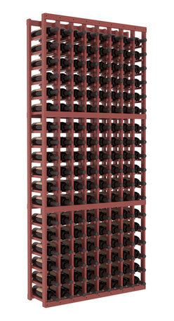 Wine Racks America - 8 Column Standard Wine Cellar Kit in Pine, Cherry Stain + Satin Finish - Wooden wine storage available in pine or redwood Plus many stain and finish options. The best rack for an intermediate collector. This rack stores up to 12 cases of wine in 18 bottle columns. You'll love it. We guarantee it.