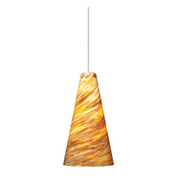 Tech Lighting - MO2Mini Taza Pend amb, sn - Blown glass shade with intensely twisted rich glass color. Includes lowvoltage, 50 watt halogen bipin lamp or 6 watt replaceable LED module and six feet of fieldcuttable suspension cable.