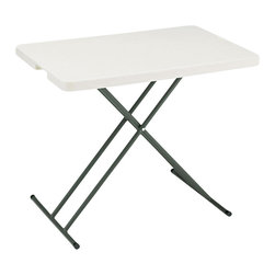 Iceberg - IndestrucTable TOO 1200 Series Personal Folding Table - Strong and durable. Flexible. Multi-purpose utility. Resin construction. Lightweight. Easy to transport, set-up and store. 2 in. thick top has a soft, 1 in. beveled radius edge. Top supported by uniquely designed steel frame. Heavy duty 1 in. round powder coated steel tube legs with bracing. Legs include non-mar plastic feet. Legs fold into protective cavity for compact storage. Washable, dent and scratch resistant. Accommodates large, evenly distributed loads. Contemporary design. Applicable for indoor or outdoor use. Table top made from blow molded high density polyethylene. Platinum finish. Made in USA. Weight Capacity: 25 lbs.. 30 in. L x 20 in. W x 29 in. HThe ultimate in durability, design and function, IndestrucTables are ideal for use in offices, banquets or any temporary work environment. This professional looking, lightweight folding table has many unique features and finishes and will last for many years  and still look as good as new!