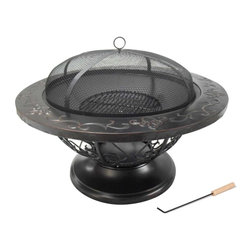 "Kay Home Products - Pemberly Outdoor Firebowl - Fireplace is a large 32"" round with a fine mesh screen spark guard for safety from flying embers"