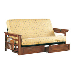 Coaster - Coaster Futon Frame with Storage Drawers in Weathered Oak - Coaster - Futon Frames - 40754076Kit - This lovely futon frame will give your spare bedroom or den a stylish look in a warm Weathered Oak finish. The wide wooden arms lift up to reveal hidden storage that is perfect for remotes and other small items. The sides feature a slat design magazine rack and this futon is shown with two spacious storage drawers below. Easily convert from a couch for lounging to a comfortable bed at night ideal for overnight guests. Keep extra blankets and pillows in the drawers underneath. Features: