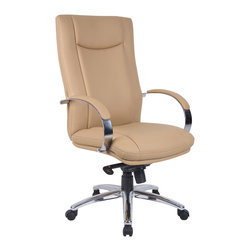 """Boss Chairs - Boss Chairs Aaria Elektra High Back Executive Chair - Tan / Chrome Finish - Contemporary design. Ultra soft and breathable Caressoft plus upholstery. Metal arms with padded arm rests. Knee tilt .27"""" metal base."""