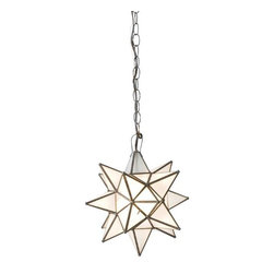 "Worlds Away - Worlds Away Frosted Glass Star Chandelier-Available in Three Different Sizes, Sm - This charming chandelier features a Moravian star pendant with frosted glass. The chandelier is available in three different sizes.  Each size has a single socket for a 60 watt max bulb and comes with 3 feet of antique brass chain and canopy. The Small measures 12"" in diameter, the Large is 15"" in diameter and the Extra-Large is 20"" in diameter."