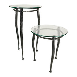 "Form & Reform - Pan Occasional Table 20"" - Just right for any room in your home, this quirky little occasional table boasts a round glass top and shaped, hammered-steel legs. Available in two sizes."