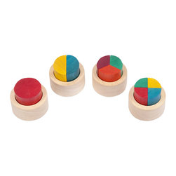 Guidecraft - Guidecraft Fraction Cups - Guidecraft - Puzzles - G6707 - Four solid hardwood cups with 10 large wooden pieces help teach fractions. Explore whole half third and quarter concepts. Develops fine-motor skills and hand-eye coordination. Made from eco-friendly rubberwood and stained with low VOC aniline dyes. Activity booklet included. Ages 2+.