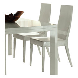 Rossetto - Rossetto Nightfly Wood Dining Chairs in White (Set of 2) - Rossetto - Dining Chairs - R413105000068 - Wooden backs and seat in crocodile leather effect material. This dining chair set will go perfectly with Nightfly dining table. (Sold separately).