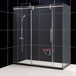"Dreamline - ENIGMA 36"" x 72"" x 79"" Fully Frameless Shower Enclosure Polished Stainless Steel - * Product Type: Shower Enclosure"