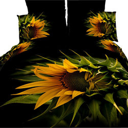 Dolce Mela - Luxury Duvet Covet Set Modern Linens Dolce Mela DM450, King - Decorate your bedroom with this gorgeous Black Forest duvet cover set featuring wild sunflowers against a dark background.