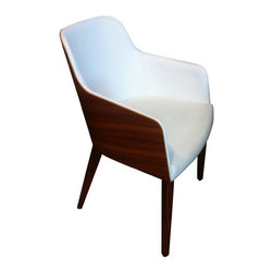Modern cream eco-leather lounge arm chair with walnut back Hudson - Arm chair Hudson features gorgeous modern design. Its upholstered in creme Italian eco-leather seat is molded by walnut plywood frame and put on solid beech wood legs.