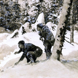 "Frederic Remington On the Caribou Tracks - 18"" x 24"" Premium Archival Print - 18"" x 24"" Frederic Remington On the Caribou Tracks premium archival print reproduced to meet museum quality standards. Our museum quality archival prints are produced using high-precision print technology for a more accurate reproduction printed on high quality, heavyweight matte presentation paper with fade-resistant, archival inks. Our progressive business model allows us to offer works of art to you at the best wholesale pricing, significantly less than art gallery prices, affordable to all. This line of artwork is produced with extra white border space (if you choose to have it framed, for your framer to work with to frame properly or utilize a larger mat and/or frame).  We present a comprehensive collection of exceptional art reproductions byFrederic Remington."