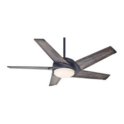 Casablanca - Casablanca LED Stealth Ceiling Fan in Aged Steel - Casablanca LED Stealth Model CA-59093 in Aged Steel with Gray Washed Veneer Finished Blades.