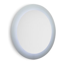 WS Bath Collections - Speci 5687 Round Wall Mounted Bathroom Mirror with White Frame and LED Light - Speci by WS Bath Collections, Wall Bathroom Mirror with White Frame and LED Backlighting