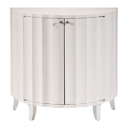 "Inviting Home - White Fluted Cabinet - Half-round fluted cabinet with lacquered white finish two doors one shelf inside and nickel hardware; 34""W x 17-1/2""D x 32-3/4""H Half-round fluted cabinet with lacquered white finish. This cabinet has two doors and one shelf inside."