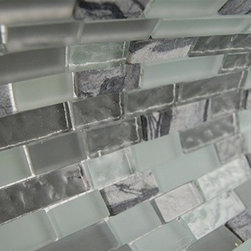 MISTED GREEN BLEND BRICK PATTERN 1/2X2 MARBLE & GLASS TILE BRICKS - This marble and glass tile's striking combination of the soft spa green, darker gray/green in the textured and frosted glass is blended with a natural tumbled gray/white marble creates a relaxing and stylish backsplash to any room. The wavy polish finish gives a distinctive appearance; great to use for the bathroom, kitchen or pool installation.