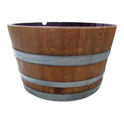 "Master Garden Products - Lacquer Finished Oak Wood Half Wine Barrel, 26""W x 17""H - All colors shown on the pictures may vary because these are made from used wine barrels, each one is different as we get them."