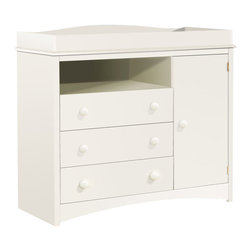 South Shore - South Shore Andover Baby Changing Table in White - South Shore - Baby Changing Tables - 2280331 - This elegant changing table with fresh clean lines profiled edges and stylized decorative kick plate will highlight your baby`s bedroom decor. It provides plenty of drawer storage space and has an adjustable shelf behind the door.