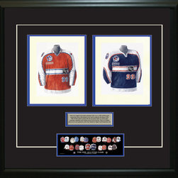 """Heritage Sports Art - Original art of the NHL 1999-2000 NHL All-Star jersey - This beautifully framed piece features two pieces of original, one-of-a-kind artwork. Both images are glass-framed in an attractive two inch wide black resin frame with a double mat. The outer dimensions of the framed piece are approximately 28"""" wide x 24.5"""" high, although the exact size will vary according to the size of the original art. At the core of the framed piece is the actual piece of original artwork as painted by the artist on textured 100% rag, water-marked watercolor paper. In many cases the original artwork has handwritten notes in pencil from the artist. Simply put, this is beautiful, one-of-a-kind artwork. The outer mat is a rich textured black acid-free mat with a decorative inset white v-groove, while the inner mat is a complimentary colored acid-free mat reflecting one of the team's primary colors. The image of this framed piece shows the mat color that we use (Medium Blue). Beneath the artwork is a silver plate with black text describing the original artwork. The text for this piece will read: These are original, one-of-a-kind watercolor paintings of both of the 1999-2000 NHL All-Star jerseys. These jersey images have been, and continue to be, used to celebrate the history of the NHL All-Star game in posters like the one shown below as well as game programs, magazines and websites across North America. Beneath the silver plate is a 3"""" x 9"""" reproduction of a well known, best-selling print that celebrates the history of the team. The print beautifully illustrates the chronological evolution of the team's uniform and shows you how the original art was used in the creation of this print. If you look closely, you will see that the print features the actual artwork being offered for sale. The piece is framed with an extremely high quality framing glass. We have used this glass style for many years with excellent results. We package every piece very carefully in a double layer"""