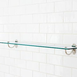 """Covington Glass Shelf, 24"""", Polished Nickel finish - We designed our Covington Collection in the style of antique fittings found on turn-of-the-century trains. Each piece is crafted of naturally strong and rust-resistant solid brass. 18"""" or 24"""" long Cast of brass and stainless steel thickly plated for strength. Shelf is made of tempered safety glass. Hand-applied finish. View our {{link path='pages/popups/fb-bath.html' class='popup' width='480' height='300'}}Furniture Brochure{{/link}}."""