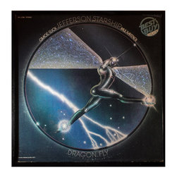 """Glittered Jefferson Starship Dragon Fly Album - Glittered record album. Album is framed in a black 12x12"""" square frame with front and back cover and clips holding the record in place on the back. Album covers are original vintage covers."""