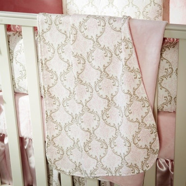 Pink and Taupe Damask Crib Blanket -