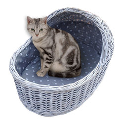 Home Bazaar inc - Wicker Cat Crib, Grey - An adorable hand woven bassinette that will accommodate all types of cats,  Constructed of natural willow  with a poly fill cushion and color coordinated fabric liner.  A terrific setting for your feline's next litter!
