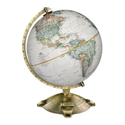 National Geographic - Allanson - National Geographic Desktop World Globe - The Allanson world globe features a unique metal base with a die-cast map of the northern hemisphere as well as an official National Geographic logo.