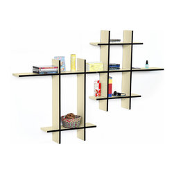 Blancho Bedding - [Stylish Beige-MEGA]Leather Cross Type Shelf / Bookshelf / Floating Shelf 9 pcs - These beautifully crafted Cross Wall Shelves display the art of woodworking and add a refreshing element to your home. Versatile in design, these leather wall shelves come in various colors. Just exert your imagination and put the boards together to light up your room. They spice up your home's decor, and create a multifunctional storage unit for all around your home. These elegant pieces of wall decor can be used for various purposes. It is ideal for displaying keepsakes, books, CDs, photo frames and so much more. Install as shown or you may separate the shelves to create a layout that suits your taste and your style. You can hang them on the wall, or have them stand on table or floor, or any way you like. Each box serves as a practical shelf, as well as a great wall decoration. Each measures approx. (W)30.9 x  (D)6 inches; (W)20.5 x  (D)6 inches; Thick: 0.6 inches.