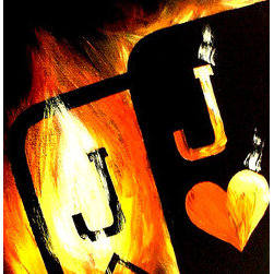 Flaming Pocket Jacks Poker Art Painting (Original) by Teo Alfonso - Since I created the Flaming Series in 2005, the Flaming Pocket Jacks have been very popular. Great dcor for your game room. Will also make a great gift. Thanks for visiting.