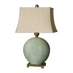 Uttermost - Uttermost 26807 Destin Table Lamp In Ceramic - Pitted ceramic base finished in a dripped aquamarine glaze with tan undertones and brushed coffee bronze metal details. The rectangle bell shade is a khaki linen fabric with natural slubbing.