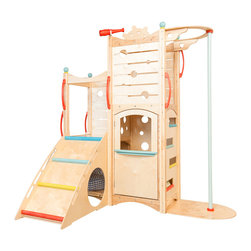 CedarWorks - Rhapsody 3 Playset - With a Rhapsody 3 playset from CedarWorks, playdates have never been better. With a ramp, climbing wall, fire pole and door to a secret hideaway your kids and their friends will create their own adventures. The panels are made from a multi-ply wood laminate commonly referred to as Baltic Birch which has 40% more layers than traditional plywoods. Assembly is required. Accessories are not included.