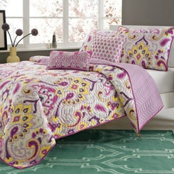 E & E Co., Ltd. - Makara 4-Piece Twin/Twin XL Quilt Set - The Makara quilt collection adds a pop of bright color to your room with beautiful overscaled paisley and damask motifs in bright yellow, fuchsia, lavender and plum. Quilt reverses to a richly textured lavender.