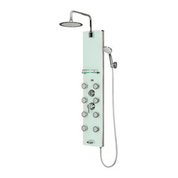 Pulse Shower Spas - White Glass Shower Panel - Lahaina ShowerSpa - Lahaina ShowerSpa includes a pressure balance valve, white tough glass panel, anodized aluminum frame, chrome fixtures, 9.5 in. round rain showerhead, brass pivoting shower arm, 8 dual-function body jets, five-function hand shower, shelf, & tub spout. Surface mounted & completely pre-plumbed, easily retrofit your existing shower without a remodel. White tempered 8mm tough glass panel with anodized aluminum frame, & chrome accents. 9.5 in. low profile rain showerhead with soft tips to clear mineral buildup for long lasting performance. Rub tips clean with Spray Straight technology. Unique side to side pivoting shower arm (brass). 8 Dual-function Select-A-Jets with soothing mist and massaging sprayAll but the top two body jets can turn off, increasing pressure to specific areas. Five-function hand shower with double-interlocking stainless steel hose, stretches from 59 in. to 78 in. (1.5 m to 2 m). Brass diverter easily switches between functions for further enjoyment. Convenient shelf for shower products. Tub spout/temperature tester. cUPC® approved brass pressure balance valve. 2.5 GPM/9.5 LPM Shower System. Made in ChinaThe PULSE Lahaina ShowerSpa is timeless in style and function. Elegant chrome fixtures sparkle along the beautiful white Tough Glass panel and subtle aluminum rails. Take ultimate control of your new found oasis with 8 dual-function Select-A-Jet body jets, a multi-function hand shower and a sleek rain showerhead on a pivoting brass shower arm. PULSE Select-A-Jets allow you to selectively turn off the lower jets, increasing pressure to just the right areas. For those with adjoining tubs a convenient spout is integrated into the panel. Designed to suit every need and stand out in any décor, the PULSE Lahaina ShowerSpa redefines luxury.with anti-scald, temperature limit and enhanced flow