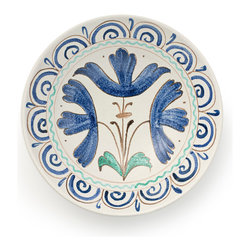 BY MERCATO - Large Tre Fiori Serving Bowl - The large ceramic serving bowl from the Tre Fiori (or, Three Flowers)  tableware collection has a simple yet delightful pattern derived from a late 15th century floral design. Three blue flowers surrounded by elegant yet relaxed detailing painted on a simple white background will make a lovely addition to your table. We love the botanical nature of the Tre Fiori design.